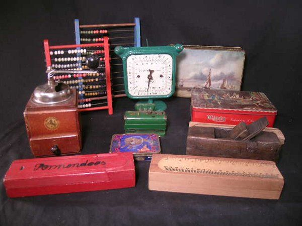 GROUP ASST ABACUS ADVERTISING TINS PENCIL BOX ETC