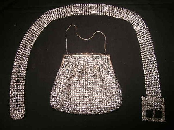 407: VINTAGE RHINESTONE EVENING BAG PURSE BELT