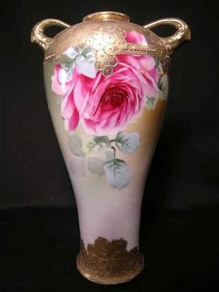 ANTIQUE ROSE ROSES GILT DECORATED EWER