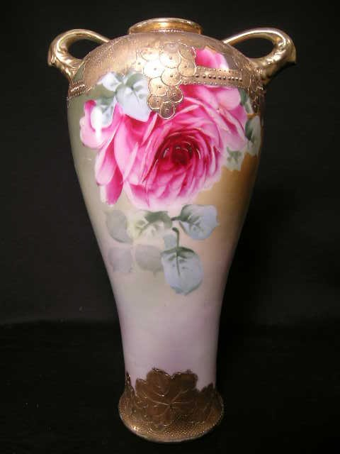 408: ANTIQUE ROSE ROSES GILT DECORATED EWER