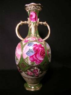 ANTIQUE ROSE ROSES GILT DECORATED TALL VASE