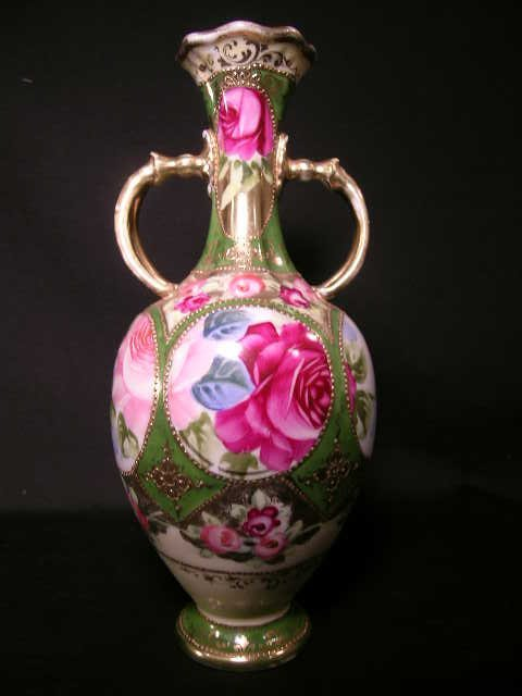 409: ANTIQUE ROSE ROSES GILT DECORATED TALL  VASE
