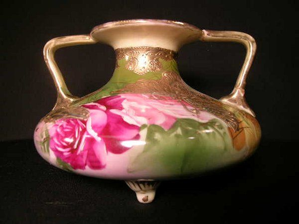 ANTIQUE ROSE ROSES GILT DECORATED FOOTED VASE