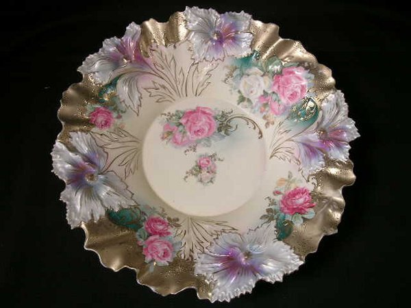 411: EXCELLENT R S PRUSSIA FLORAL BOWL ANTIQUE