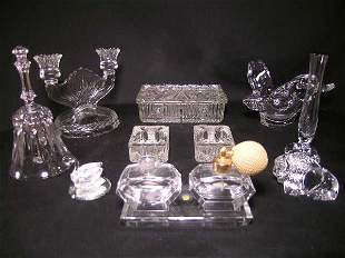 GROUP LOT GLASS CRYSTAL PORCELAIN PERFUMES ETC