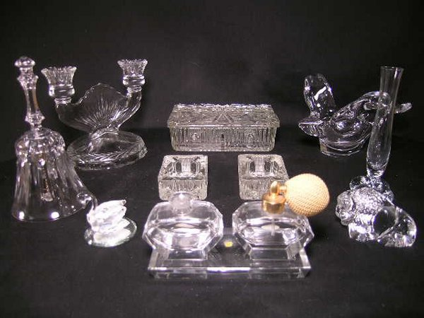 412: GROUP LOT GLASS CRYSTAL PORCELAIN PERFUMES ETC