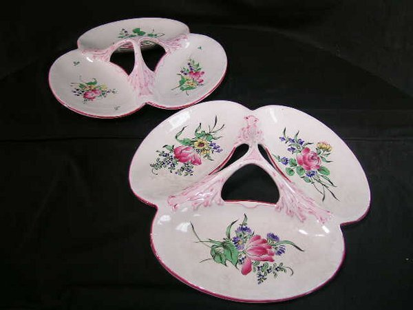 413: LARGE ANTIQUE FRENCH LUNEVILLE FLORAL TRAYS 2 PCS