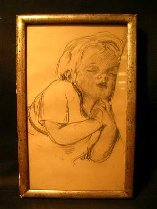 PENCIL DRAWING CHILD SLEEPING SIGNED L TURNER