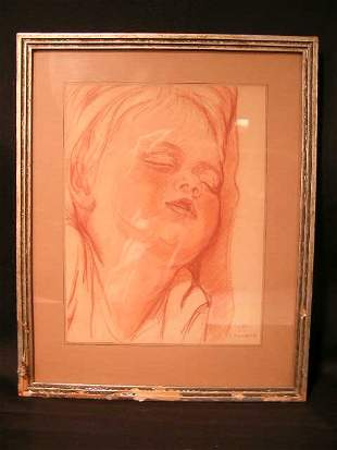 CHARCOAL DRAWING CHILD SLEEPING SIGNED L TURNER