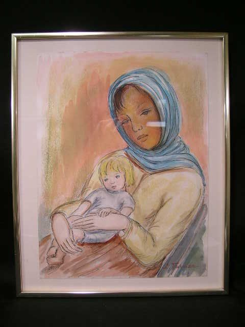 PASTEL PORTRAIT WOMAN CHILD SIGNED L TURNER