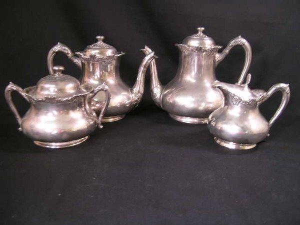 589: REED BARTON SILVER PLATE ORNATE TEA SERVICE 4 PCS