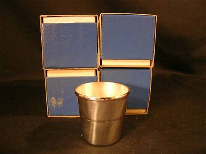 WALLACE SILVER PLATE JIGGERS BOXED 4 PCS