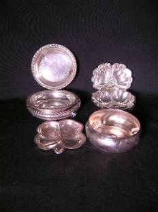 ASST STERLING SILVER PLATED COASTERS DISH 12 PCS