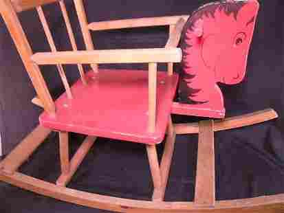 VINTAGE WOODEN ROCKING HORSE BABY SEAT