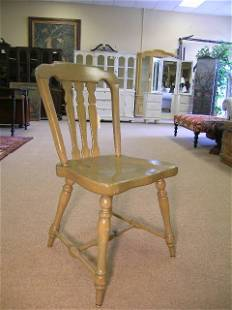 ETHAN ALLEN GREEN PAINTED WOODEN SIDE CHAIR