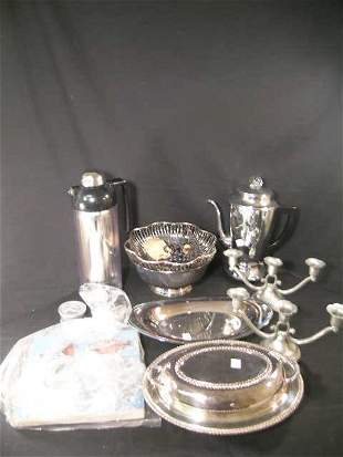 GROUP SILVER PLATE BOWL COFFEE POT THERMOS ETC