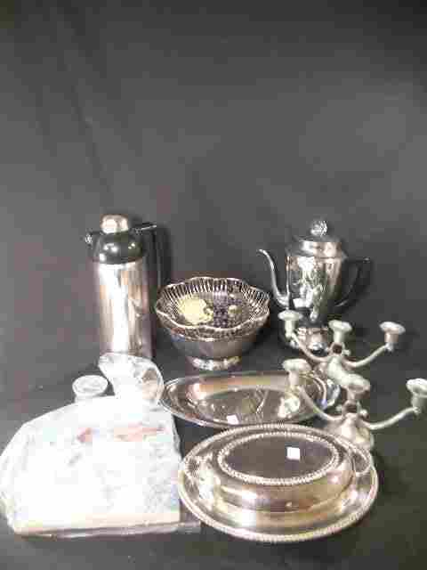 768: GROUP SILVER PLATE BOWL COFFEE POT THERMOS ETC