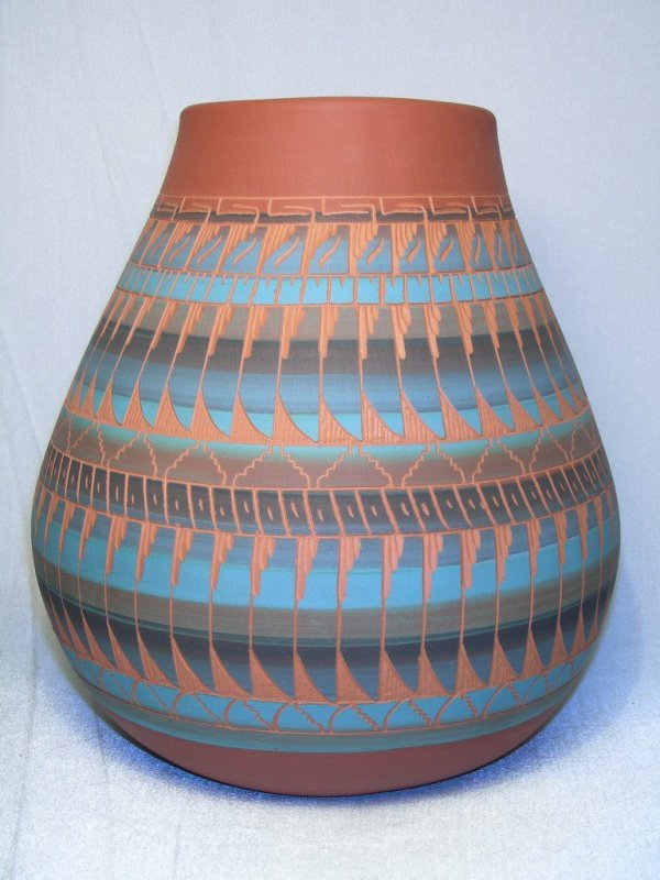 3: NATIVE AMERICAN NAVAJO RED CLAY  VASE SIGNED
