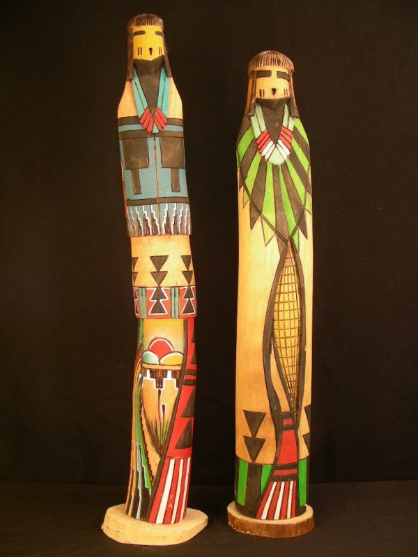 12: 2 YELLOW LOOM CARVED WOOD NATIVE INDIAN TOTEM POLES