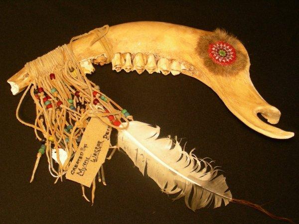 13: NATIVE AMERICAN INDIAN ANIMAL JAW BONE W/FEATHERS