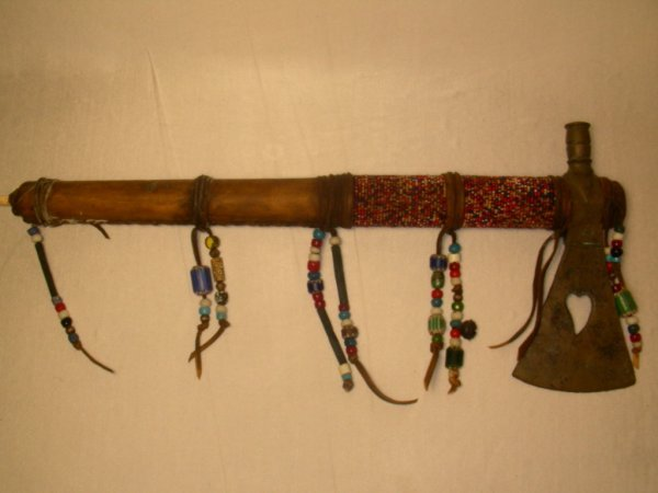 46: AMERICAN INDIAN FANCY TOMAHAWK BEADED LEATHER