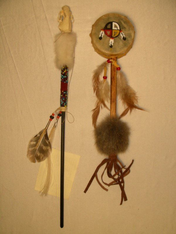 99: NATIVE AMERICAN INDIAN TALKING STICK & HAND RATTLE