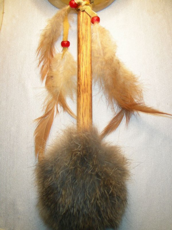 99: NATIVE AMERICAN INDIAN TALKING STICK & HAND RATTLE - 3