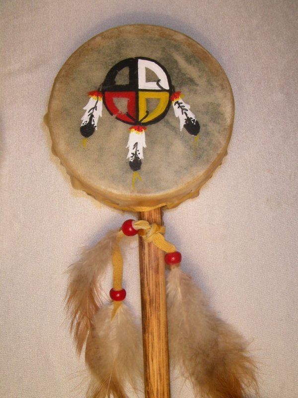 99: NATIVE AMERICAN INDIAN TALKING STICK & HAND RATTLE - 4