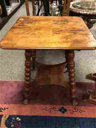 ANTIQUE 19thC METAL & GLASS CLAW FOOT SQUARE TABLE
