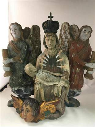 LOT OF 4 CARVED WOOD RELIGIOUS SANTOS