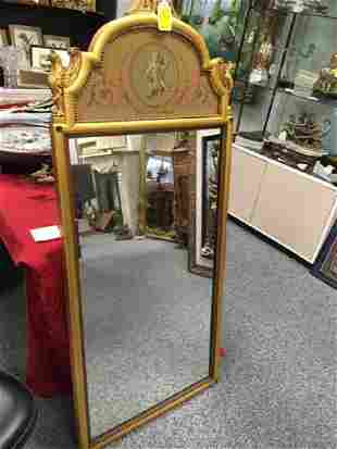 TRUMEAU MIRROR IN GOLD PAINTED FRAME WITH CHERUB