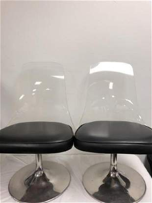 PAIR VINTAGE LUCITE & CHROME PLATED CHAIRS