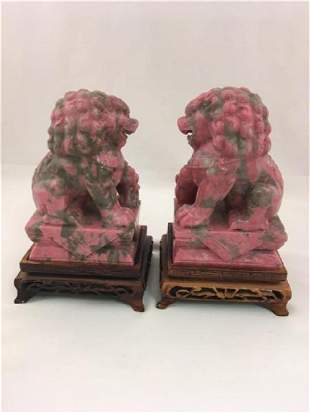 PR CHINESE CARVED PINK / GREY MARBLE FOO DOGS