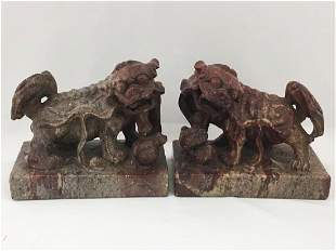 PR CHINESE VARIEGATED RED/BROWN STONE FOO DOGS