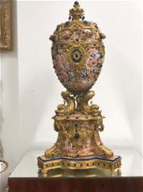 MONUMENTAL BRONZE MOUNTED POTTERY CENTERPIECE