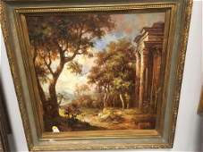 LARGE OIL ON CANVAS PAINTING OF ANCIENT RUINS