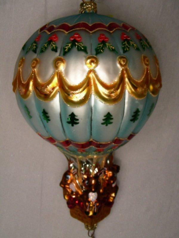 386: CHRISTOPHER RADKO ORNAMENT HOT AIR BALLOON SANTA - 4