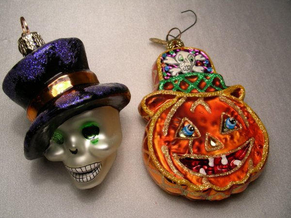 485: 2 PC CHRISTOPHER RADKO HALLOWEEN ORNAMENTS