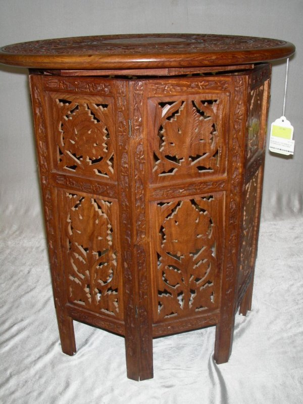 601: ANGLO INDIAN CARVED WOOD 2PC TABLE WITH INLAY