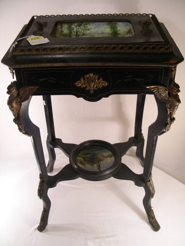 602: ANTIQUE FRENCH WASH STAND w LIMOGES PORCELAIN BOWL