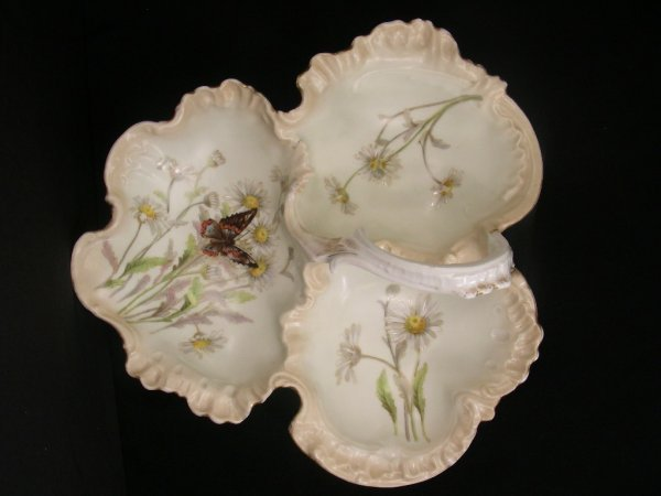 606: HAND PAINTED LIMOGES SECTIONAL DISH w BUTTERFLY