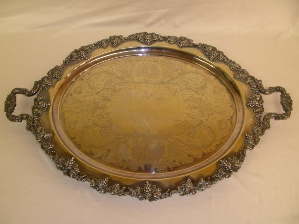 612: HUGE SILVER PLATED SERVING TRAY GRAPE LEAF BORDER