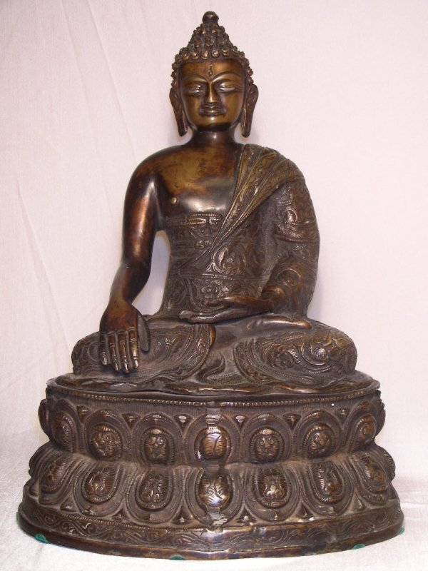 614: VINTAGE BRONZE / BRASS SCULPTURE OF BUDDHA