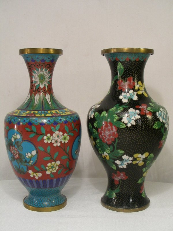 615: TWO CLOISONNE VASES  BLACK FLORAL & MULTI COLOR