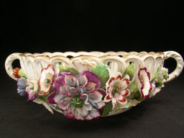 623: ANTIQUE BERLIN PORCELAIN FLORAL RELIEF BOWL