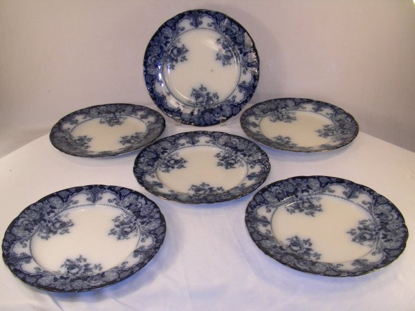 1014: J H WEATHERBY AND SONS FLOW BLUE PLATES BELMONT 7