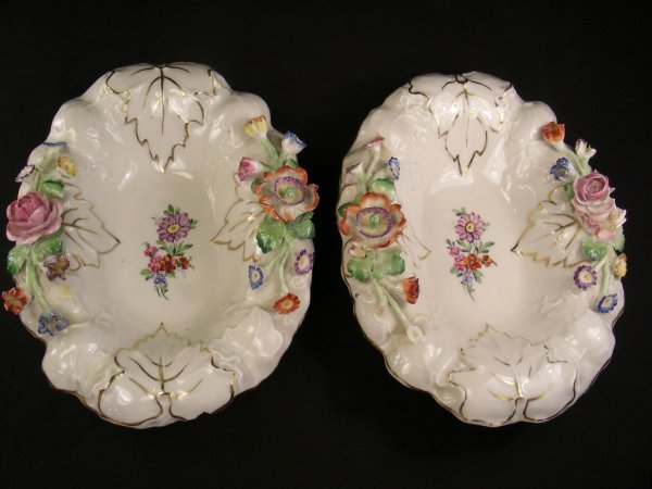 1016: TWO ANTIQUE GERMAN PORCELAIN SWEET MEAT DISHES