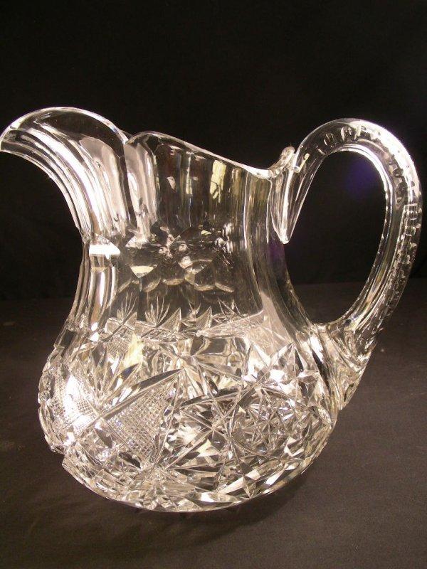 1017: BRILLIANT CUT GLASS HAWKES PITCHER