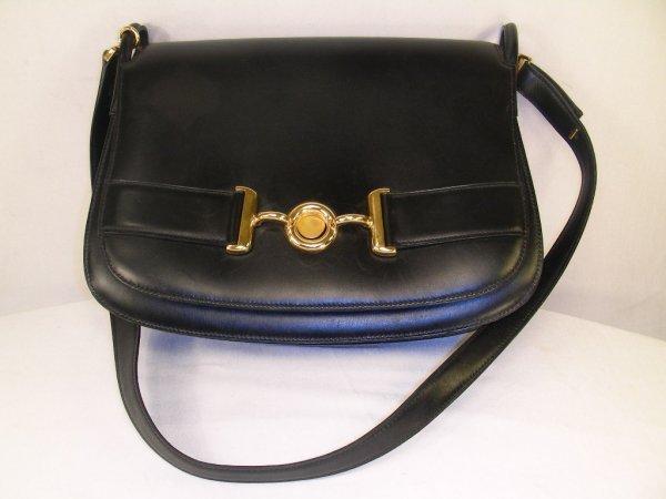 1021: AUTHENTIC BLACK LEATHER HERMES PURSE/SHOULDER BAG