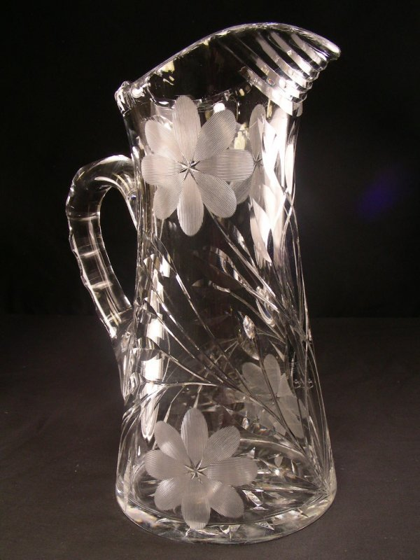 1022: TALL CUT GLASS PITCHER